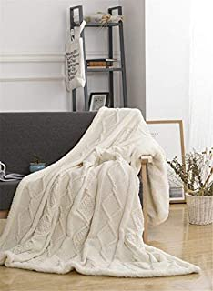 MIRUIKE Cosy Cable Knitting Throw All Season Cotton Blend Knitted Blanket for Sofa,Bed,Couch