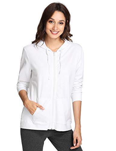 Weintee Women's Cotton Jersey Zip up Hoodie S White