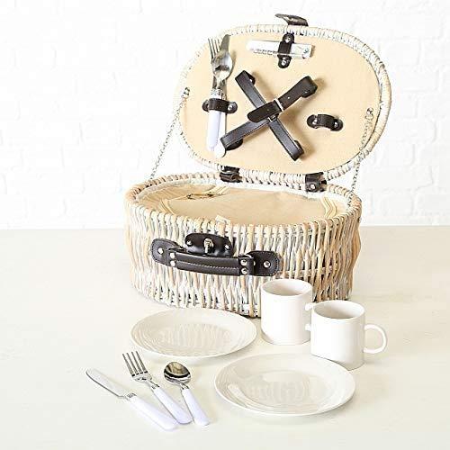 Tamia-Home 12tlg Picknickkorb für 2 Personen Picknickkoffer mit Kühlfach und Picknickset Picknick Korb rechteckig Ariege aus Weidenholz beige