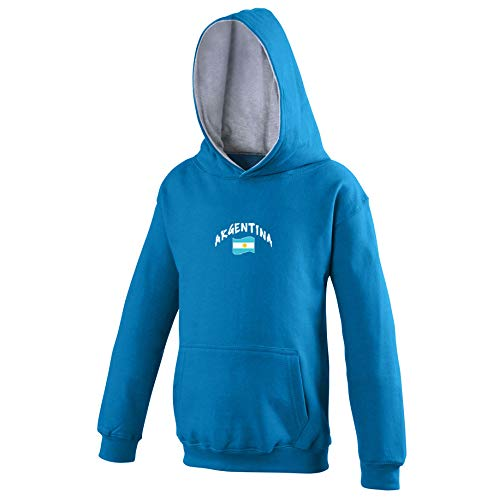 Supportershop - Sudadera con Capucha para niño (Argentina), Niño, 5060672801973, Azul, FR : L (Taille Fabricant : 7-8 ANS)