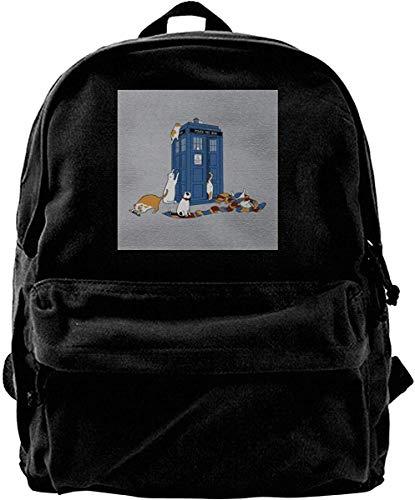 Canvas Rucksack Zeitreisende Katzen Doctor Who Tardis Rucksack Gym Wandern Laptop Umhängetasche Daypack für Männer Frauen