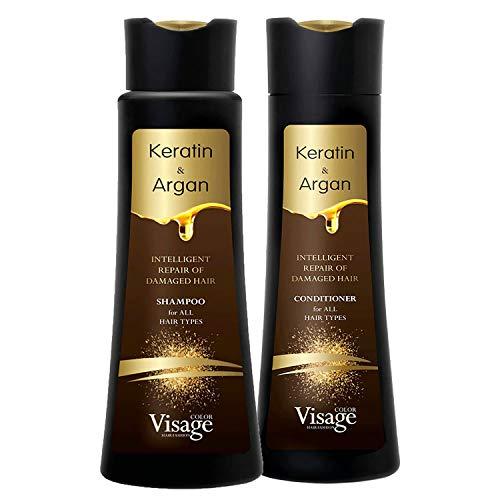 Visage Shampoo 250 ml + Conditioner 250 ml mit biomimetischem Keratin & Arganöl | Feuchtigkeitsspendend und pflegend | Tiefenfeuchtigkeit | Intelligente Reparatur von geschädigtem Haar