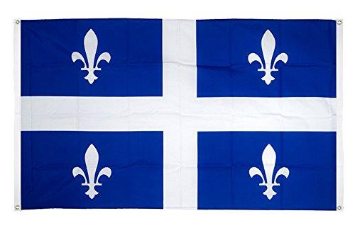 Digni Drapeau de Balcon (avec 4 Oeillets) Canada Quebec - 90 x 150 cm Sticker Gratuit
