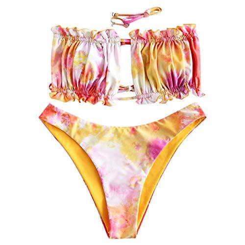 ZAFUL Women's Strapless Ribbed Tie Back Ruffle Cutout Bandeau Bikini Set Swimsuit (T-Multi-A, S)