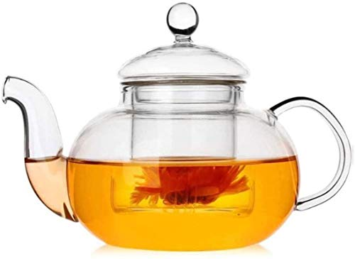 Cast Iron Teapot Clear Thicken Glass Tea Maker with Filter Heat Resistant Tea Strainers for Loose Leaf for Home Office Party Tea Accessories Tea Cup (Size : 600ml) (Size : 800ml)