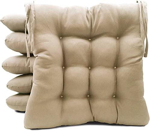 TIENDA EURASIA® Pack 6 Cojines para Sillas de Terraza - Funda de 100% Loneta Lavable y Relleno de Fibra Hueca Siliconada Acolchada - 40 x 40 x 5 cm (Beige)