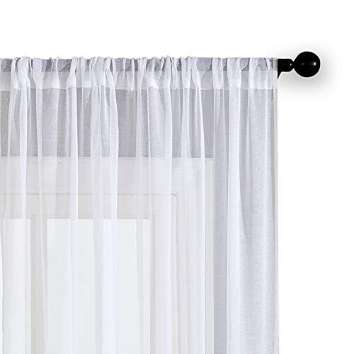 Bumpy Road Cortinas de Tul Blanco sólido para Sala de Estar Dormitorio Cocina Hilados Cortinas Transparentes Cortinas de Gasa Tratamientos de Ventana