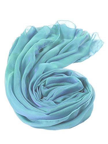 prettystern Stola Pura Seta Foulard Tinta Unita con Sfumature Cangianti Pura Seta per Donna 45. Blu petrolio