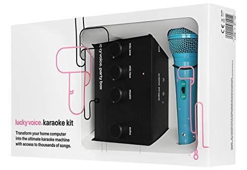 Lucky Voice Máquina de Karaoke: aparato de karaoke para el hogar con micrófono. Ideal para adultos, niños y familias. Apto para Mac, PC, iOS y Android con biblioteca de más de 9000 canciones - Micrófono azul