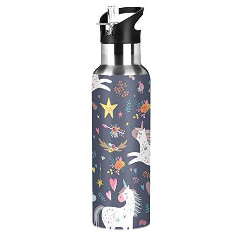 RURUTONG Botella de agua Unicornio de acero inoxidable aislada, 2010023, mantiene líquidos calientes o fríos con boca ancha y pajita para fitness, gimnasio, camping, deportes al aire libre 2010023