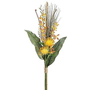 31″ Dendrobium Orchid & Protea Silk Flower Bouquet -Orange/Flame (Pack of 6)