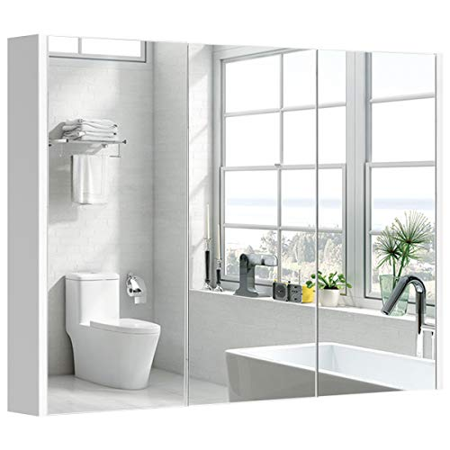 COSTWAY Baño Armario con Espejo de Pared Estante Gabinete para Toalla Cepillo de Mueble Organizador