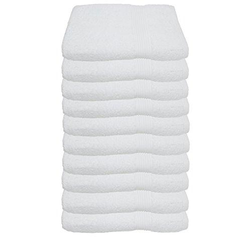 Julie Julsen Lot de 10 serviettes d'invité sans produits chimiques - 600 g/m² - Blanc - 30 x 50 cm - 100 % coton - Certifié Öko-Tex Std 100 - Doux et absorbant - Lavable en machine