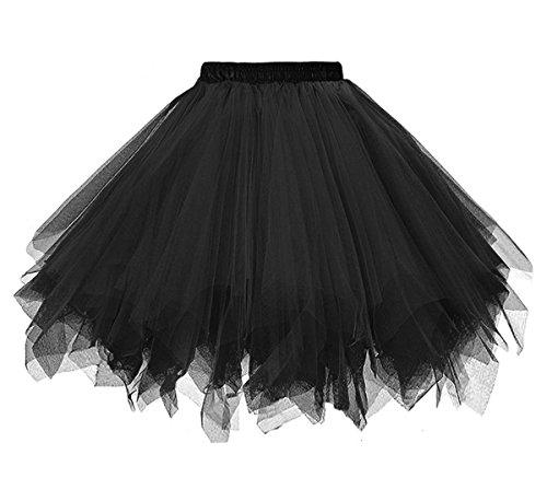 Dressever Vintage 1950s Short Tulle Petticoat Ballet Bubble Tutu Black (X-Large)