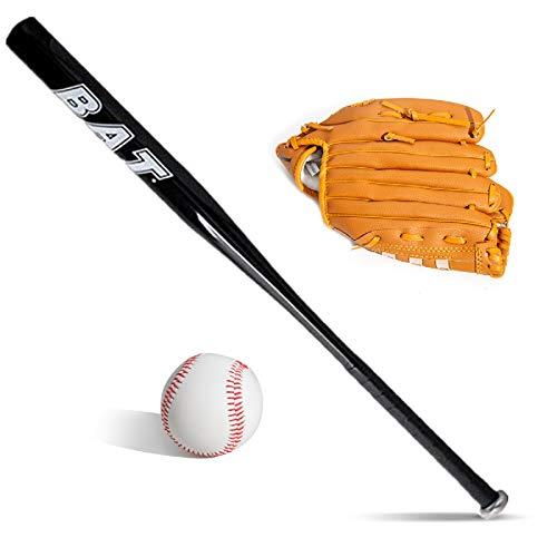 Baseballschläger-Set, Baseballschläger-Set, schwarz, Baseballschläger und Baseball-Handschuh, Aluminium, 63,5 cm, Sicherheits-Baseballschläger und Ball-Set