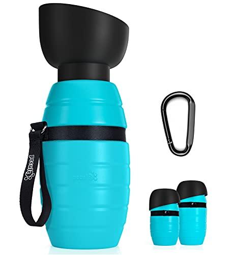 Pecute Botella de Agua para Mascotas con Cuenco de Agua Plegable Botella de Agua de Silicona de Grado Alimentario para Perros Gatos, 100% Libre de Fugas de Agua(M: 650ml/ 22oz)