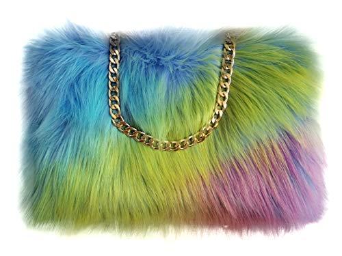 FHQHTH faux-pelz-kupplungen purse fuzzy schultertasche für frauen-abend-handtaschen al-legierung schultergurt [Mehrfarbig]
