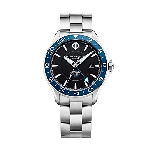 Baume et Mercier Clifton Club Automático GMT Dial Negro Reloj de acero inoxidable para hombre 10487