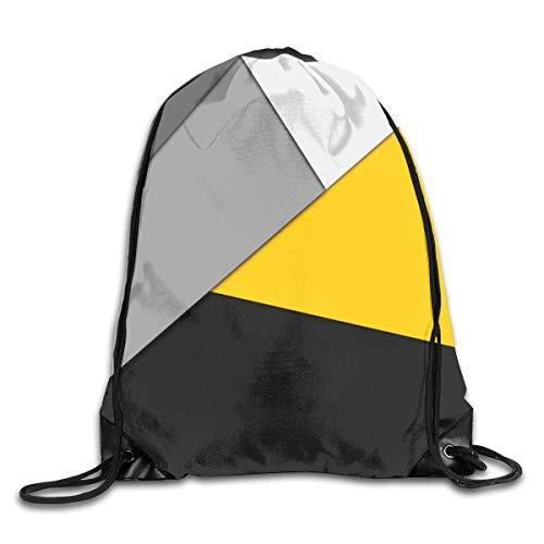 Lawenp billig Simple Modern Gray Yellow and Black Geometric Drawstring Bag, Sports Cinch Sacks String Drawstring Backpack for Picnic Gym Sport Beach Yoga