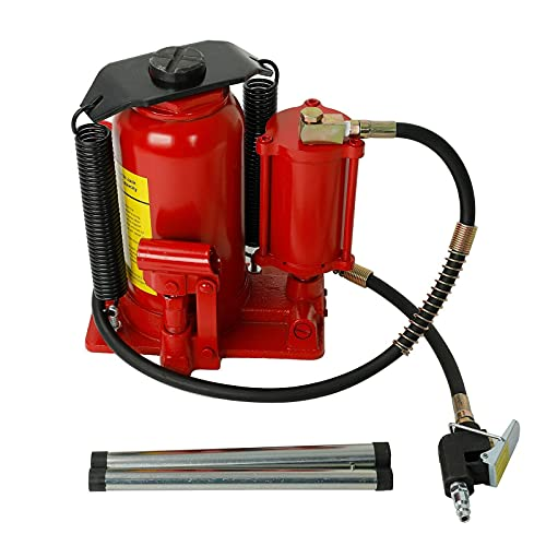 Pneumatic Air Hydraulic Bottle Jack 20 Ton Bottle Jack with Manual Hand Pump Air Jack Heavy Duty Auto Truck Repair Lift (Red)