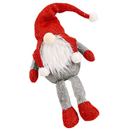 ABOOFAN Gnome Weihnachtsschmuck Plüsch Schwedisch Tomte Santa Elf Figuren Nordic Nisse Socker Elf Zwergdekoration für Weihnachtsbaum Hängendekoration L (Rot)