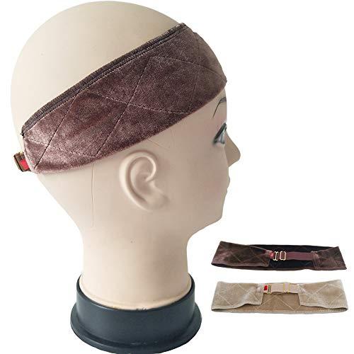 Perruque Grip Band Réglable, Souple Velvet Perruque Bandeau Perruque Confortable Bande De Cheveux Wig Gripper Brun Foncé Beige - 2 Pcs