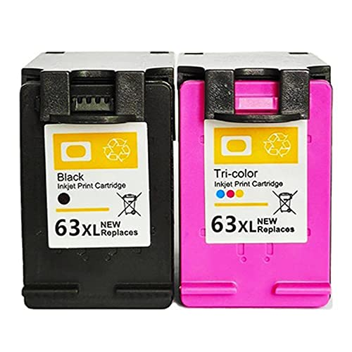 UKKU Cartucho de tóner Compatible con impresión precisa para HP 63 63XL para HP DeskJet1110 1115 2130 2135 3630 3830 OfficeJet 4650 4520 Impresoras con Chip de Color negr Set