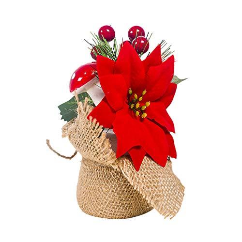 Amosfun Flor de Pascua de Navidad Baya roja Hongo Ornamento Mesa de Navidad Centro de Mesa Acebo Navidad Bayas decoración