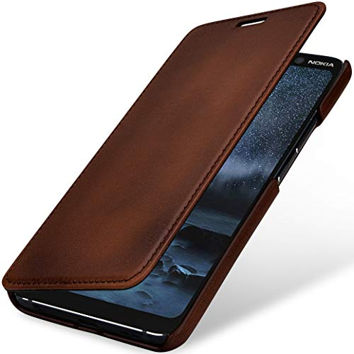 StilGut Book Hülle kompatibel mit Nokia 9 PureView Hülle aus Leder zum Klappen, Klapphülle, Handyhülle, Lederhülle - Braun Antik