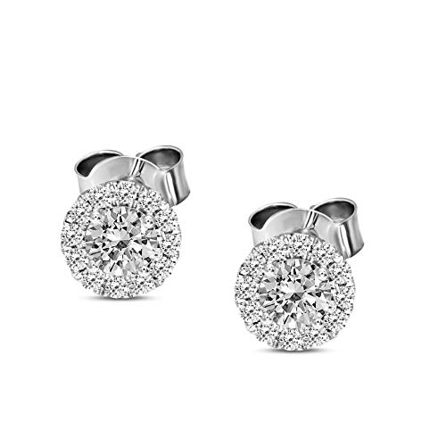 Holiday Season Deals IGI Certified Lab Grown Diamond Earrings 14K White Gold 1 carat Lab Created Diamond Halo Stud Earring For Women (1 CTTW, HI Color, SI1-SI2 Clarity Diamond Jewelry For Women)