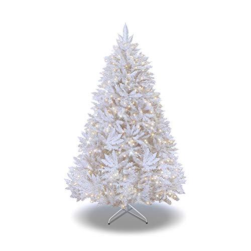 BenefitUSA 6.5ft/7ft/7.5ft LED White Christmas Tree LED Lighted Tree Warm Light (6.5 FT)