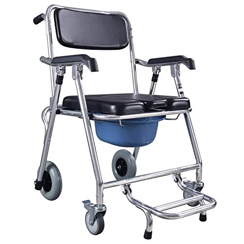 AFDK Commode Stühle Toilettenstuhl, Rad Mobiler Toilettensitz Aluminiumbad Commode Mobiler Rollstuhl Rollstuhl Dusche Transport Faltbarer Mobiler Stuhl für Badezimmer Toilettenhocker Ältere Behindert