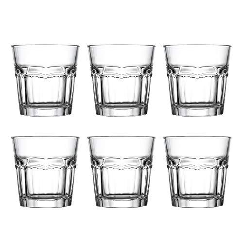 Trinkgläser 6er Set - 240ml Wassergläser - Saftgläser für Wasser, trink, Saft, Cocktails,Tee