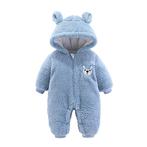Vicbovo Clearance Newborn Baby Winter Thicken Cartoon Sheep Snowsuit Infant Toddler Warm Fleece Hoodie Romper Outfit Clothes (Blue, 9-12 Months)