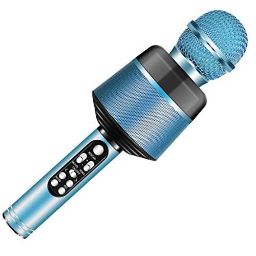 xiaohuozi Potente Micrófono de Condensador Micrófono Inalámbrico Bluetooth con Luces Intermitentes de Colores Adecuado para Live Performance Singing Gaming,Blue
