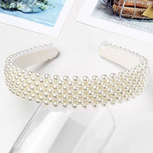 Diseño de la Perla Hairband de Las Mujeres Blancas Acolchado Corona Venda de Las Muchachas de la Cruz Headwear del Tocado de Pelo de la Boda Accesorios-Amarillento (Color : Beige)