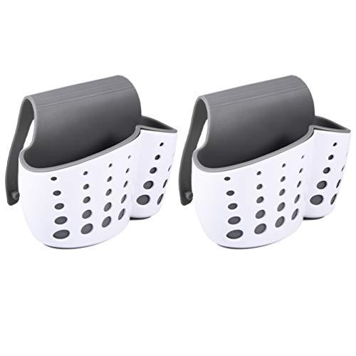 Cabilock 2 Stks Aanrecht Caddy Spons Houder Zeep Spons Afvoer Rack Houder Voor Scrubber Afwasborstel Keuken Accessoires Organizer (Wit)