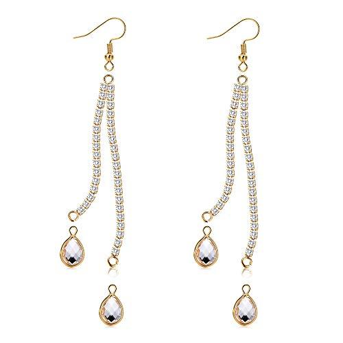 Pendientes de borla chapados en oro de 18 quilates con cadena de diamantes de imitación larga y gancho para hacer joyas