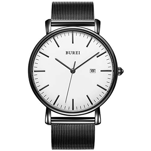 BUREI Men's Fashion Minimalist Wrist Watch Analog Date with Stainless Steel Mesh Band (White Black)