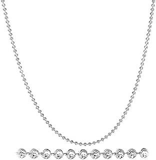 Diamond Cut Italian 2mm Moon Cut Bead Chain in Solid Sterling Silver