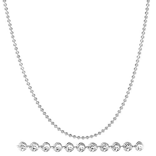 NYC Sterling Diamond Cut Italian 2mm Moon Cut Bead Chain in Solid Sterling Silver (22, Yellow-Gold-Plated-Silver)