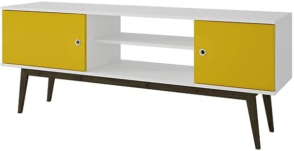 Manhattan Comforts 61AMC144 MC Salem Splayed LegTV Stand In White And Yellow