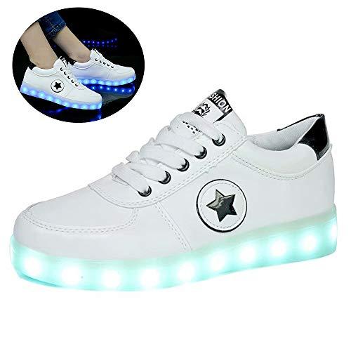 Leuchtende Schuhe,led Turnschuhe, Mit Leuchtender Sohle 7 Farbe USB Aufladen LED Leuchtend Sport Schuhe Sportschuhe LED Sneaker Turnschuhe Für Unisex Grün, Schwarz Größe(35-44Black-39
