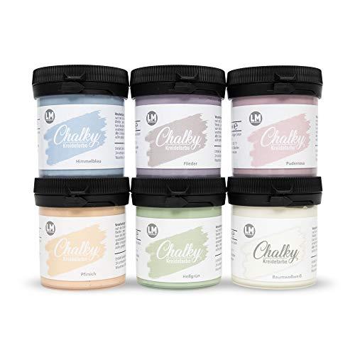 LM-Kreativ Chalky kritfärg 6 x 100 ml (pastelldröm) – finish kritfärg för en vintage/shabby chic look. Kritfärgerna/kalkfärgen kan också användas som träfärg och torka matt på