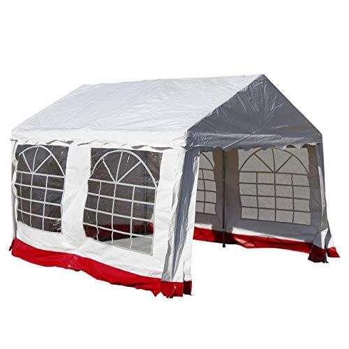 Lenox Exklusives Partyzelt mit besonders starker Plane PVC Festzelt Pavillon 3x4 m weiß mit rotem Rand für Garten Terrasse Plane Feier Markt wasserdicht