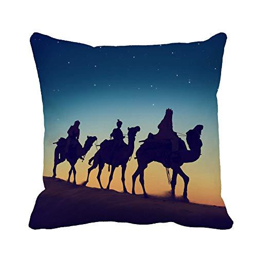 N\A Throw Pillow Cover Bethlehem Three Wise Men Riding Camel Desert Dusk Animales Funda de Almohada Funda de Almohada Cuadrada Decorativa para el hogar Funda de cojín
