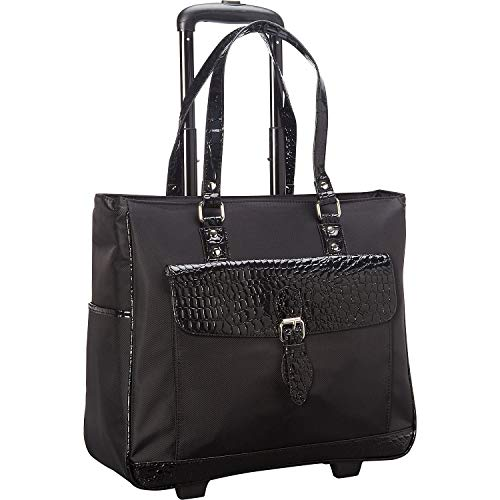 "Heritage Travelware Women's Lake View Nylon Twill 2-Wheeled 17"" Laptop & Tablet Business Tote Carry-On, Black"