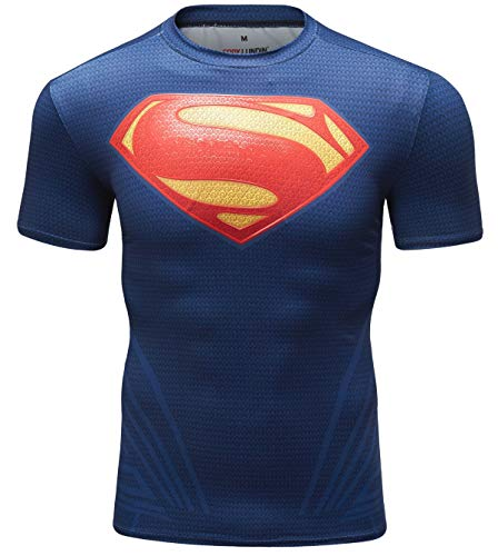Red Plume Men's Compression Sports Short Sleeve Tee Super Logo Fitness Gym T-Shirt (XXL, Superman+Red and Yellow logoV)