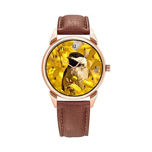 Reloj de pulsera para hombre de lujo con mecanismo de cuarzo, resistente al agua, de piel marrón, chic, rosa, floral, minimal, estiloso, color turquesa