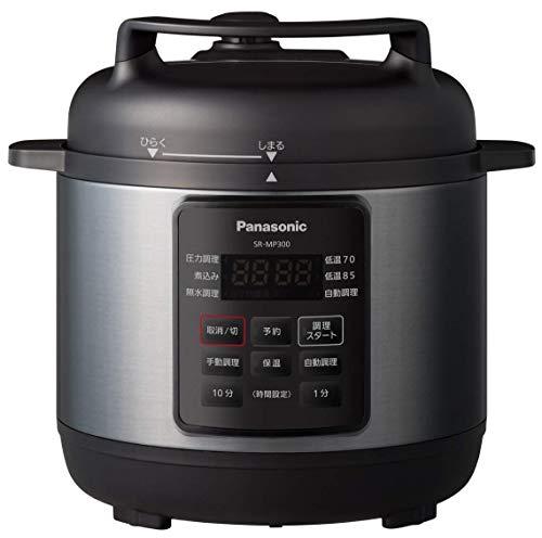 パナソニック 電気圧力鍋 時短なべ 3L ブラック「満水容量3L、調理容量2L」 (圧力、低温、無水、煮込、自動調理) SR-MP300-K